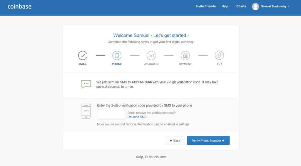coinbase profil SMS