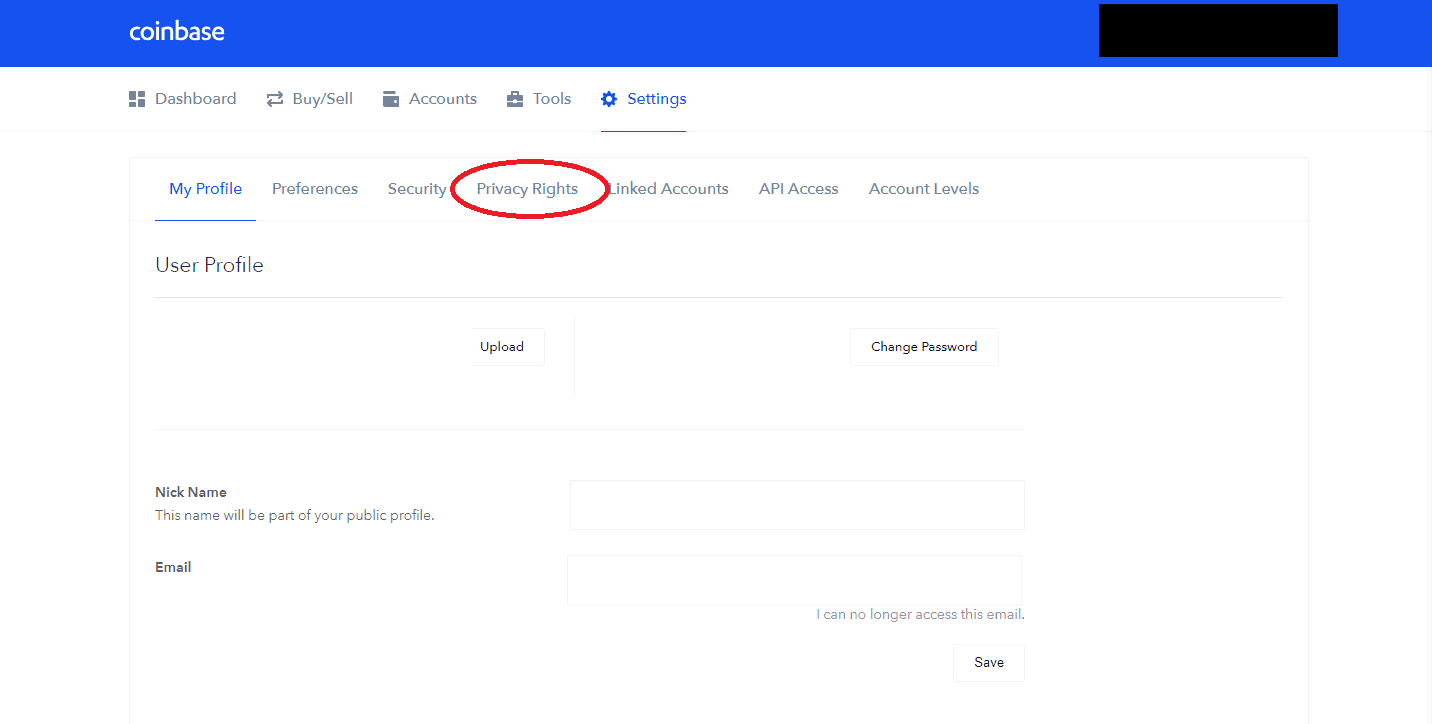 coinbase 3 privacy rights settings