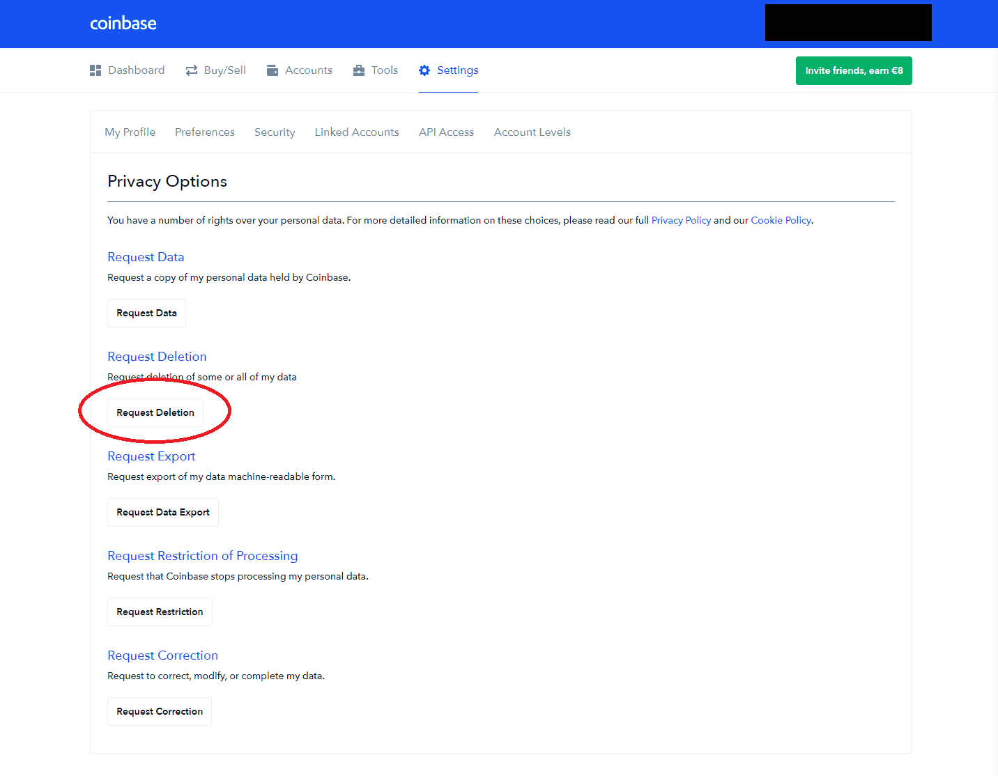 coinbase 4 deleting personal information