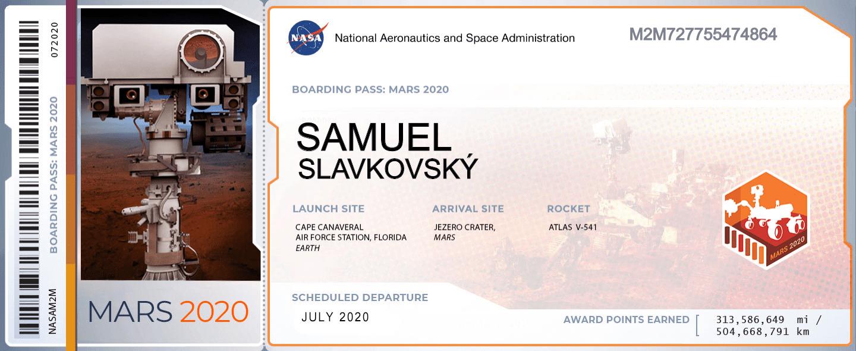 letenka na Mars Samuel Slavkovský