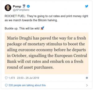 Zníženie sadzieb v eurozóne (ECB)zrejme dodá raketové palivo Bitcoinu