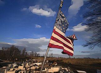 usa vlajka ekonomika recesia kriza nárast nezamestnanosti