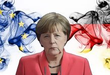 Eu, European Union vs Germany, German smoky mystic flags placed side by side. Thick colored silky abstract smoke flags combination
